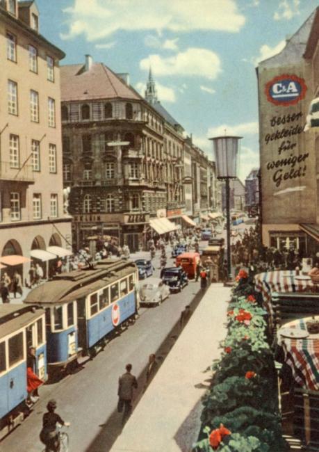 Kaufingerstraße Richtung marienplatz 1960